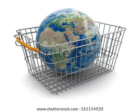 Shopping Basket and Globe (clipping path included). Earth map provided by NASA