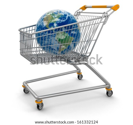 Shopping Basket and Globe (clipping path included). Earth map provided by NASA - stock photo