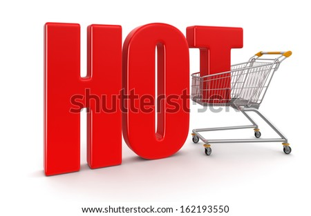 Shopping Basket and Hot (clipping path included) - stock photo