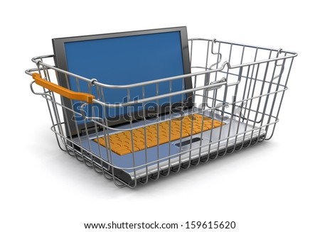 Shopping Basket and Laptop (clipping path included) - stock photo