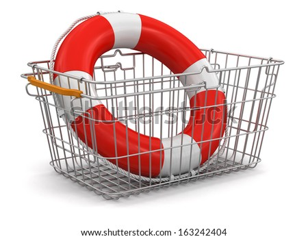 Shopping Basket and Lifebuoy (clipping path included) - stock photo