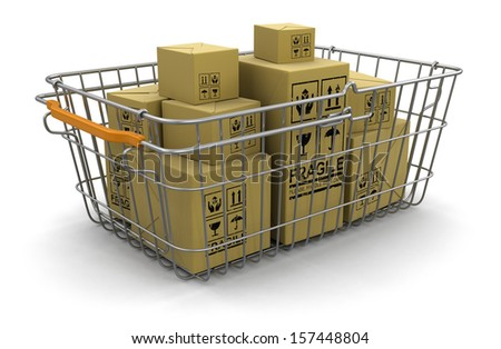 Shopping Basket and packages (clipping path included) - stock photo