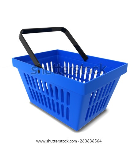 Shopping basket. 3d illustration isolated on white background  - stock photo
