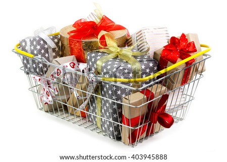 Shopping basket filled with gifts up to the top