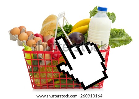 Shopping basket full of grocery, concept of online shopping - stock photo