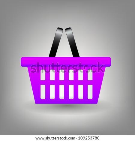 Shopping basket icon  Raster version illustration - stock photo