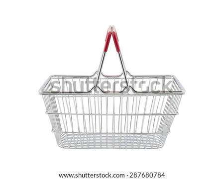 Shopping basket isolated on white background with clipping path  - stock photo