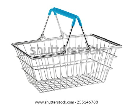 shopping basket on white background - stock photo