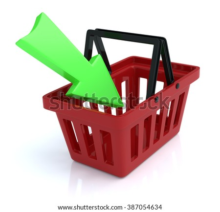 Shopping Basket On White Background With Add Arrow - stock photo