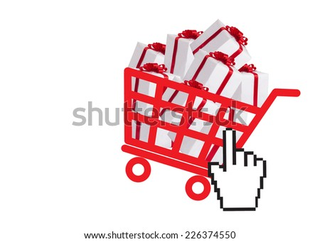 Shopping basket with gift boxes and hand cursor as online shopping concept - stock photo