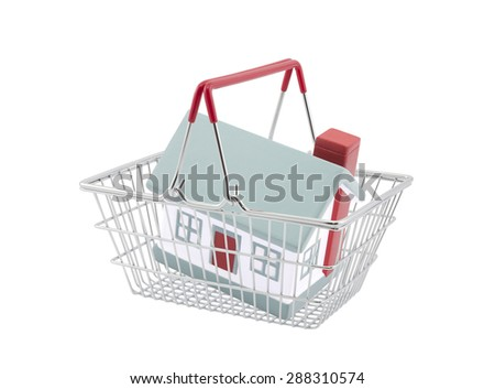 Shopping basket with house miniature isolated on white background - stock photo