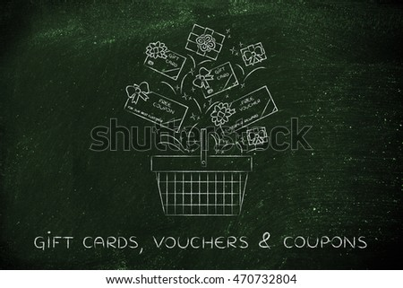 shopping basket with plenty of gift cards and coupons to buy products for free, concept of customer rewards and fidelization