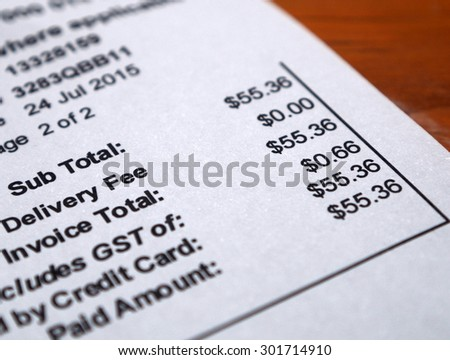 shopping bill invoice closeup