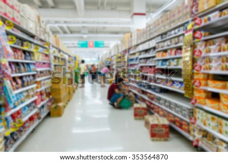Shopping blur in the super market. The corridor filled with fruits, vegetables and other products, clothing, accessories.  And products on the shelves in supermarkets.