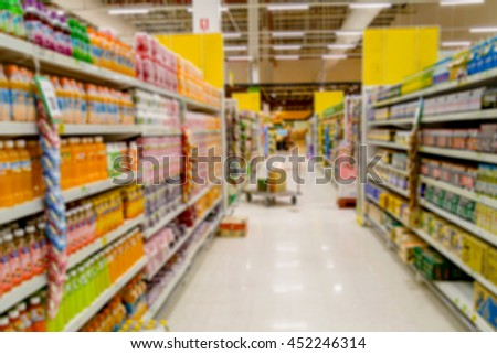 Shopping blur in the super market. The corridor filled with fruits, vegetables and other products. And products on the shelves in supermarkets.