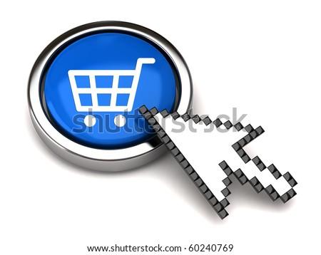 Shopping button and arrow cursor - stock photo