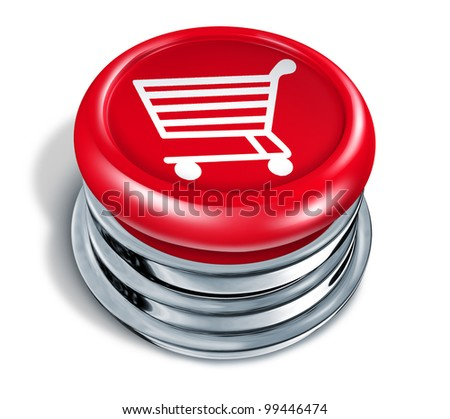 Shopping button and online shop icon with a red circle push key as a shop cart icon of buying merchandise or services from the internet or home based business as an e-commerce concept of web sales. - stock photo