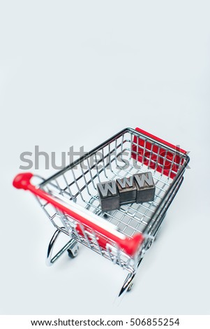 Shopping card with the letters WWW (World Wide Web) signifying on line shopping.
