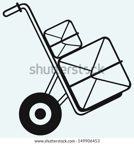 Shopping cardboard box on sack truck isolated on blue background. Raster version