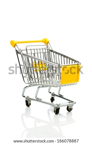 shopping cart against white background, symbol photo for consumption crisis and purchasing power