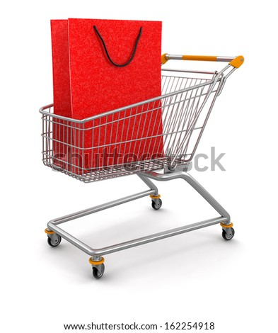 Shopping Cart and Bags  (clipping path included) - stock photo