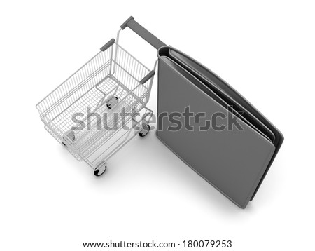 Shopping cart and black leather wallet on white background