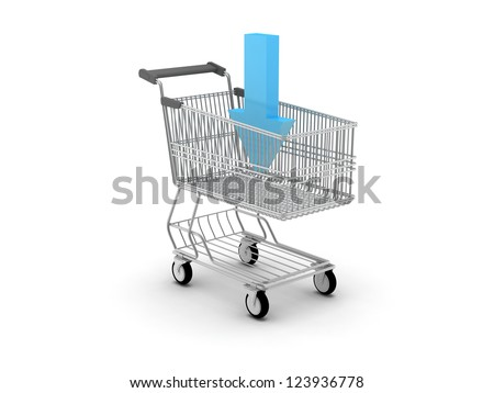 Shopping cart and blue arrow - e-shopping concept illustration