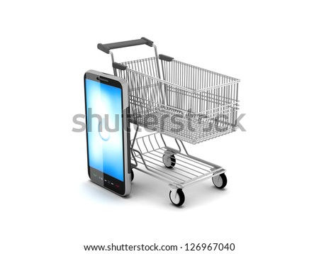 Shopping cart and cell phone - stock photo
