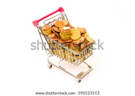 Shopping cart and coins, money