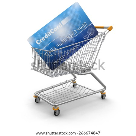 Shopping Cart and Credit Card (clipping path included) Elements of this image furnished by NASA
