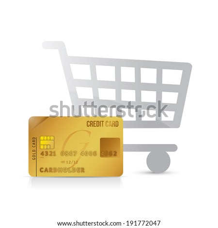 shopping cart and credit card illustration design over a white background