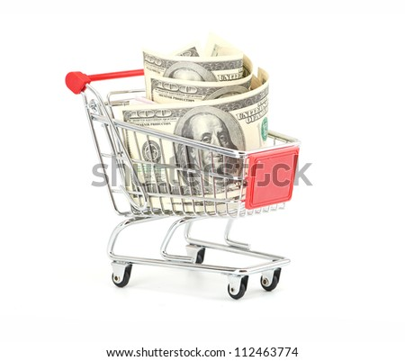 Shopping cart and dollars isolated on a white - stock photo