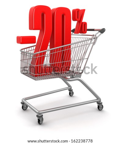 Shopping Cart and -20 percents (clipping path included) - stock photo