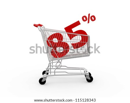 Shopping cart and red eighty five percentage discount, isolated on white background.