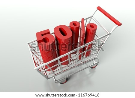 Shopping cart and red fifty percent discount, sale concept - stock photo