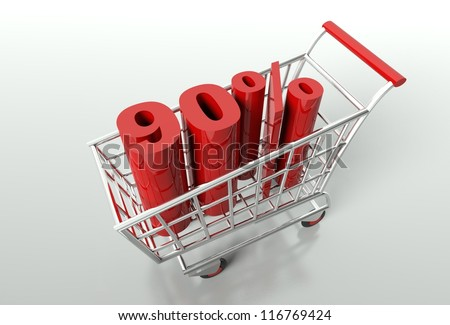 Shopping cart and red ninety percent discount, sale concept - stock photo