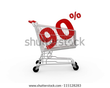 Shopping cart and red ninety percentage discount, isolated on white background.