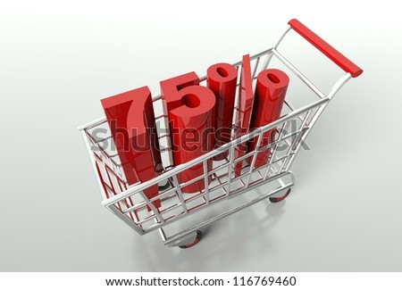 Shopping cart and red seventy five percent discount, sale concept - stock photo