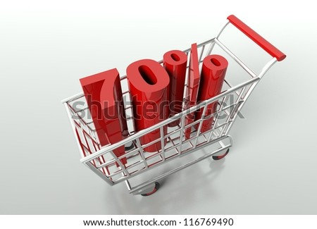 Shopping cart and red seventy percent discount, sale concept - stock photo