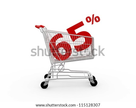 Shopping cart and red sixty five percentage discount, isolated on white background.