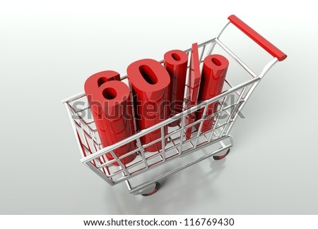 Shopping cart and red sixty percent discount, sale concept - stock photo