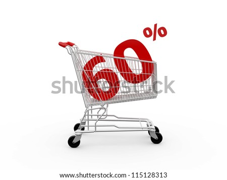 Shopping cart and red sixty percentage discount, isolated on white background.
