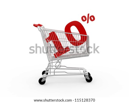 Shopping cart and red ten percentage discount, isolated on white background.