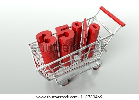 Shopping cart and red thirty five percent discount, sale concept