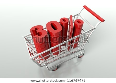 Shopping cart and red thirty percent discount, sale concept - stock photo