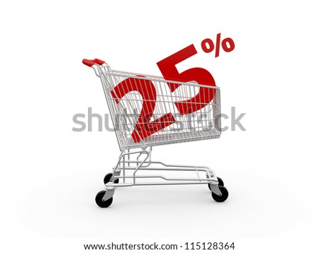Shopping cart and red twenty five percentage discount, isolated on white background.