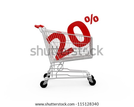 Shopping cart and red twenty percentage discount, isolated on white background. - stock photo