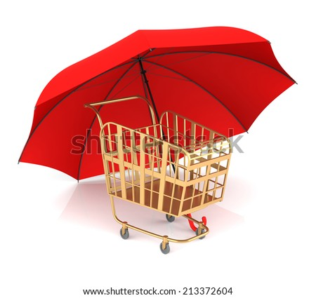 Shopping Cart and Red Umbrella. 3D Rendering - stock photo