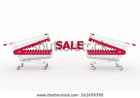 Shopping cart and sale, isolated on white background. Concept of discount. - stock photo