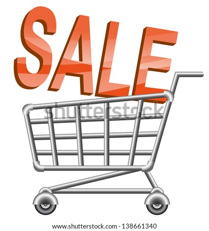 Shopping-cart and sale sing. Raster version, vector file also included in the portfolio. - stock photo